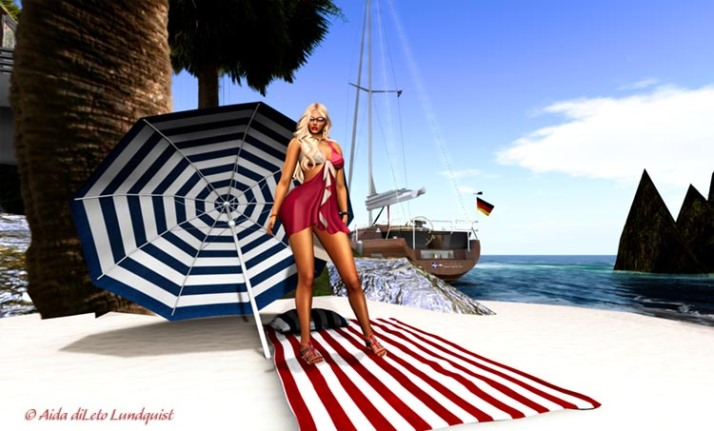 PINK ICE SANDY SUMMER BEACH MESH DRESS - RED_750x453